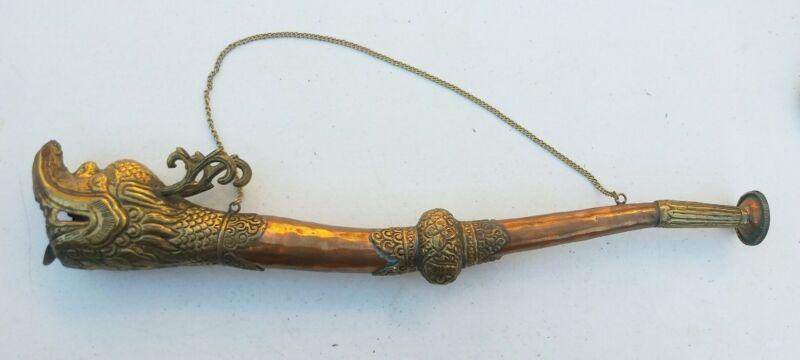 Vintage Buddhist Ritual Tibetan Ceremonial Dragon HORN Trumpet brass & copper