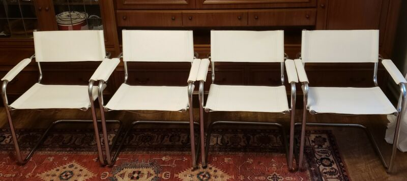 4 Stam Mart Leather Cantilever CHAIR MID CENTURY Bauhaus Italy Free shipping!