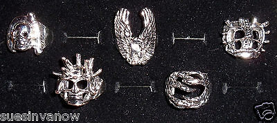 5 Styles Spiked Skull Eagle The Claw Reaper Ring Biker Rebel Gothic Jewelry
