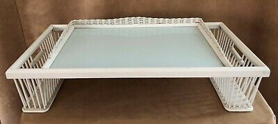 Vintage Wicker Bed Serving Tray white wooden lap desk Book Magazine glass top
