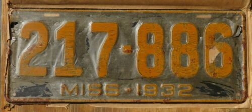 1932 MISSISSIPPI / NEVER ISSUED ORIGINAL license plate  1932  217-889  original