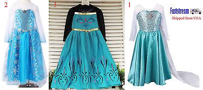Girls  Frozen Princess Snow Queen Elsa Costume Dress