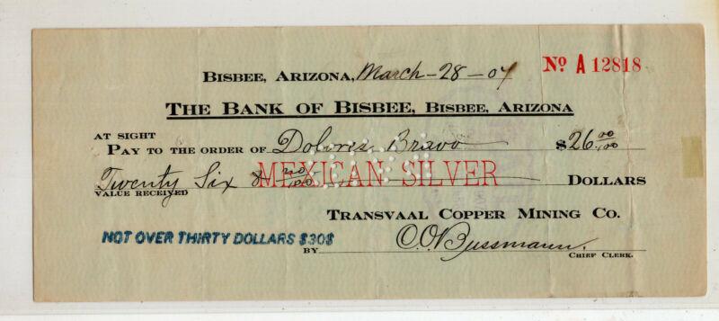 Mexico Revenue stamp check Copper Mining Co Bank of Bisbee Arizona Silver #S2677