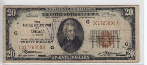 1929 Federal Reserve Bank of Chicago, IL $20 Note FR#1870-G G01726808A