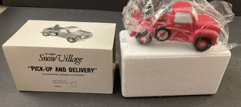DEPT 56 SNOW VILLAGE - PICK UP AND DELIVERY 54542 RED TRUCK W/ TREE