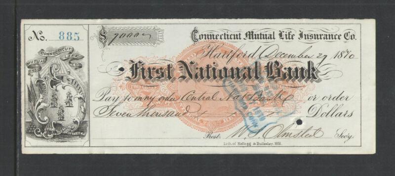 1870 FIRST NATIONAL BANK HARTFORD CONN MUTUAL LIFE BLACK Sm CHECK REVENUE STAMP