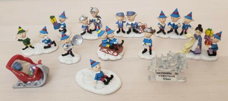 Lot of 12 Hawthorne Village Rudolph Reindeer Figures Elves EUC Sleigh Elf Angel