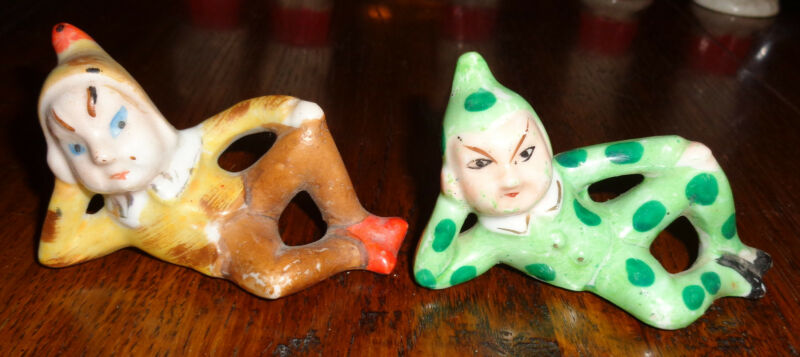 Vintage Porcelain PIXIE Elf Gnome GREMLIN Figurine POLKA DOT Set Of 2