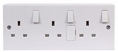 Triple 3 Gang Wall Socket Extension Fused + Back Box Electrical Converter Mains