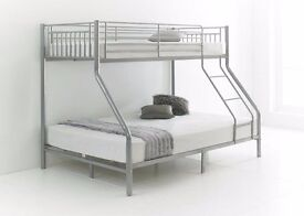 BIGGEST SEASON OFFER ***MODERN TRIO TRIPLE METAL BUNK BED 100% STRONG WITH CHOICE OF MATTRESS