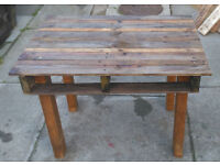 wood wooden pallet garden table upcycled hand made & creocoted upcycled