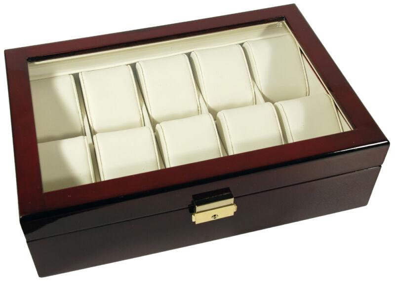 10 Watch Rosewood Glass Top Storage Organizer Case