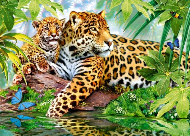Puzzle Puzzel Jaguars by the Pool Jaguar Mutter und Kind Dschungel Wald 500