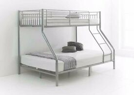BRAND NEW BOTTOM 4FT6 DOUBLE, TOP 3FT SINGLE, TRIO METAL BUNK BED