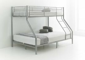 EASTER SALE TRIO SLEEPER METAL BUNK BED WITH MATTRESS SINGLE TOP DOUBLE BOTTOM ADULTS BUNK BED