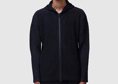 RARE Homme Plissé Issey MiyakeMen's Zipped Hooded Sweatshirt In Black M - Large