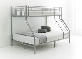 Quality Trio Sleeper Metal Bunk Bed In Silver Color For Sale with Free Delivery