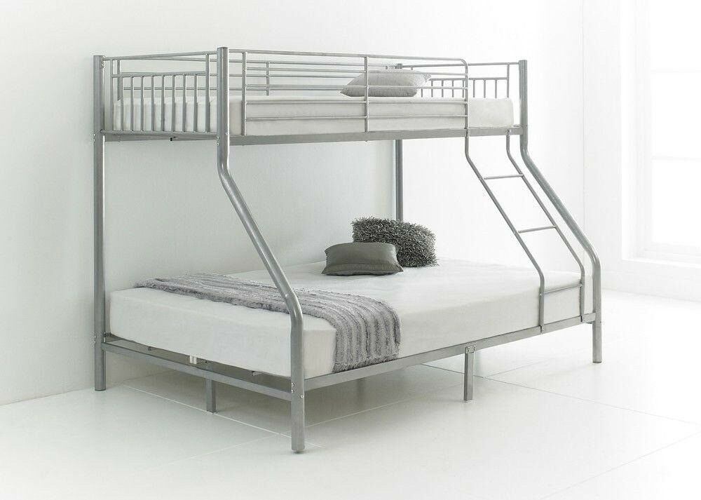 Trio Sleeper Metal Bunk Bed With Mattress Single Top Double Bottom