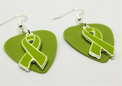 Lime Green Ribbon Charm Guitar Pick Earrings with Surgical Steel Earwires