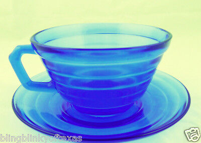 Blue Cobalt Glass Cup and Saucer Moderntone Pattern Hazel Atlas 1934 1937