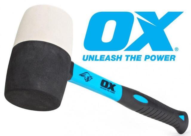 OX Trade Combination Rubber Mallet 16oz, 24oz, 32oz. Strong Fibreglass Handle
