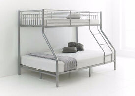 Trio Sleeper Metal Bunk Bed Frame nearly new. easily Self assembly for std single & double Mattress