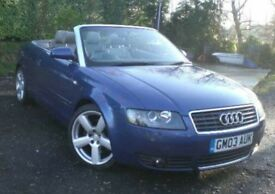 Convertible Audi A4 sports cabriolet in blue