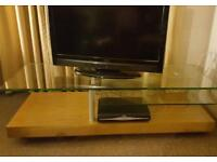 TV Stand and Media Unit, Solid wood and glass shelf