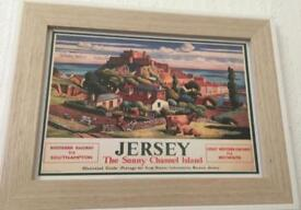 Glass framed picture of jersey channel island