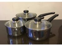 3 stainless steel pots