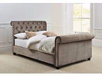 BRAND NEW NEVER OPENED Westcott 4 drawer brushed velvet Kingsize Sleigh Bedframe from Next