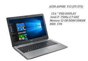 ACER ASPIRE F5-573 , 15.6'' FHD, quad i7-7500u TURBO 3.5GHZ, 12GB memory, 1TB HDD + MCoFFICE Pro 2016 , new in open box
