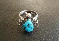 Turquoise and Sterling Spider Ring