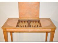 Large Satinwood Card Games Backgammon, Othello, Checkers Table With Tiled Inlay