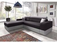 Brand New Italian Corner Sofa Bed with Storage, Black Fabric + Grey Leather. Call Now