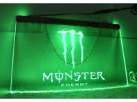 3D Engraved Monster Energy Advertising Neon LED Sign