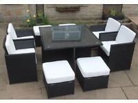 9 piece Garden Table Brown square set
