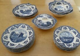 Johnson Bros - Blue Old Britain Castles - 28 Piece Set - In Mint Condition
