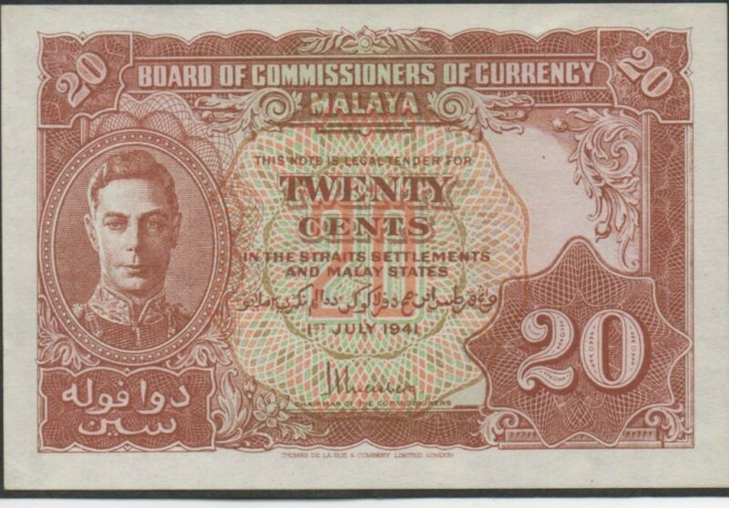 Malaya , 20 cents , 1.7.1941 , P 9a , Rare in Unc .