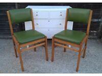 Stunning Pair of 60's/70's Teak Chairs Retro Vintage Verco Palm Green(dining staples gplan ladderax)