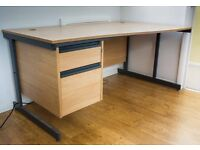 Light oak desk - curved desk top with two drawers