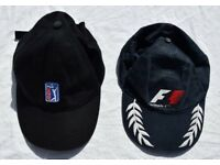 Bundle of x2 Sporty Adjustable Baseball Caps / Peaked Hats: PGA Golf & Formula 1