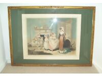 Antique 1922 Colour Mezzotint and Frame - The Romps by Sydney E Wilson / William Redmore Bigg.