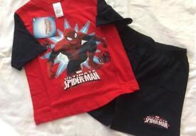 Spider-Man short pyjamas pjs age 3/4 BNWT