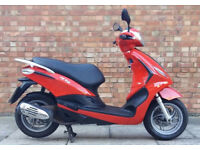 Piaggio fly 125 (13 REG) in red, In good condition, Low mileage