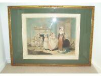 Antique 1922 Framed Colour Mezzotint - The Romps by Sydney E Wilson / William Redmore Bigg.