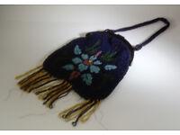 Vintage micro glass beaded evening bag/purse 1920/30s