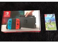 Nintendo Switch Neon console plus Zelda game
