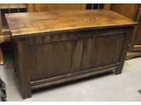 Hunters Solid oak carved blanket box / ottoman / toy trunk. Can be used to sit on.