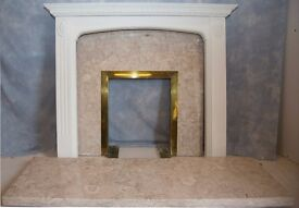 Fireplace french marble plinth with matching insert & wooden suround